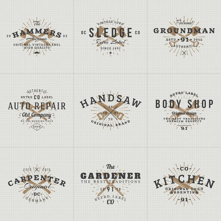 Set of Hipster Vintage Labels,   Badges for Your Business. Knife, Axe, Hammer, Wrench. Vector Illustration Illustration