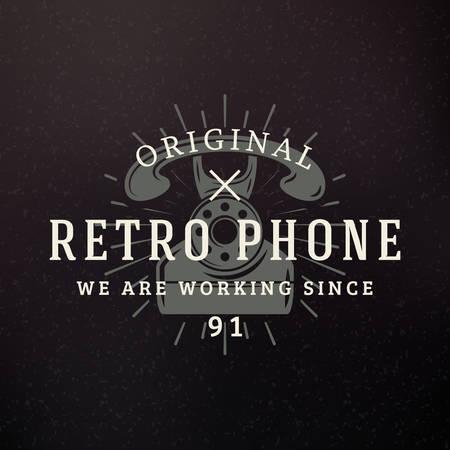 telefono antico: Retro Phone. Retro elementi di design fo Emblema, Badge, Label. Affari Segno modello. Priorit� bassa strutturata Vettoriali