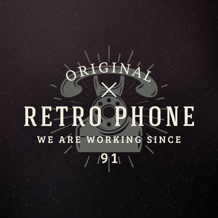 antique telephone: Retro Phone. Vintage Retro Design Elements fo Insignia, Badge, Label. Business Sign Template. Textured Background