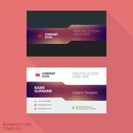 surname: Modern Creative and Clean Business Card Template with Blurred Background. Vector Illustration