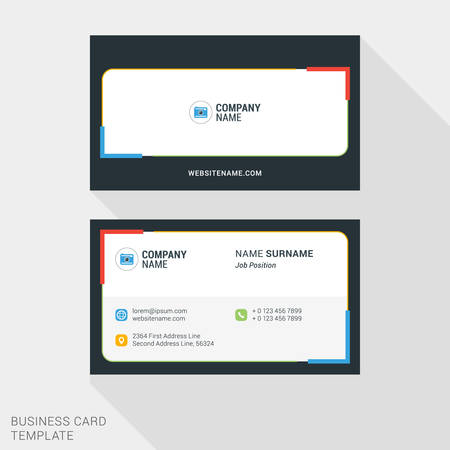 jaune rouge: Modern Creative and Clean Business Card Template with Red, Yellow Blue and Green Colors. Vector Illustration