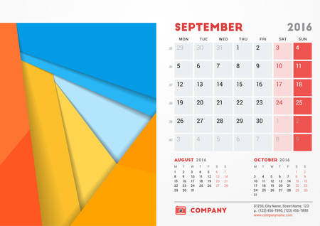 sunday paper: September 2016. Desk Calendar for 2016 Year. Vector Stationery Design Template with Material Design Abstract Background,  and Contact Information. Week Starts Monday