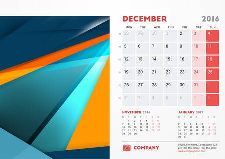 sunday paper: December 2016. Desk Calendar for 2016 Year. Vector Stationery Design Template with Material Design Abstract Background,  and Contact Information. Week Starts Monday Illustration