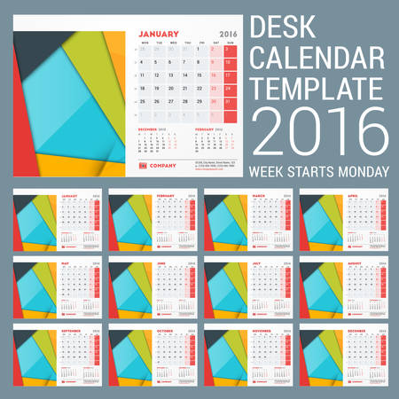 months of the year: Desk Calendar for 2016 Year. Vector Stationery Design Template with Material Design Abstract Background, Company Logo and Contact Information. Week Starts Monday. 12 Months