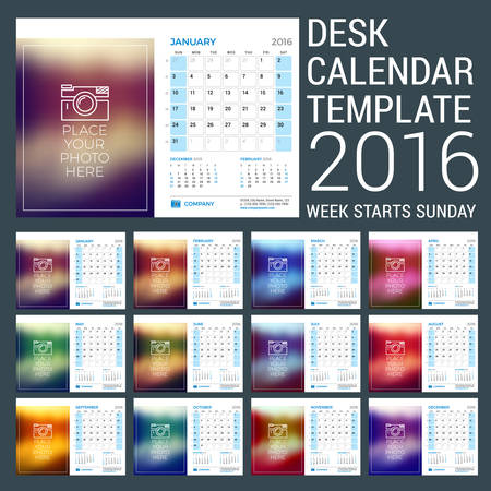 desk calendar: Desk Calendar for 2016 Year. Vector Stationery Design Template with Motivational Quote on the Blurred Background,  and Contact Information. Week Starts Sunday. 3 Months on Page Illustration