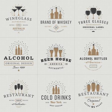 Set of Hipster Vintage Labels, Logotypes, Badges for Your Business. Beverage, Wine Glasses, Bottles, Beer, Drinks, Restaurant. Vector Illustration