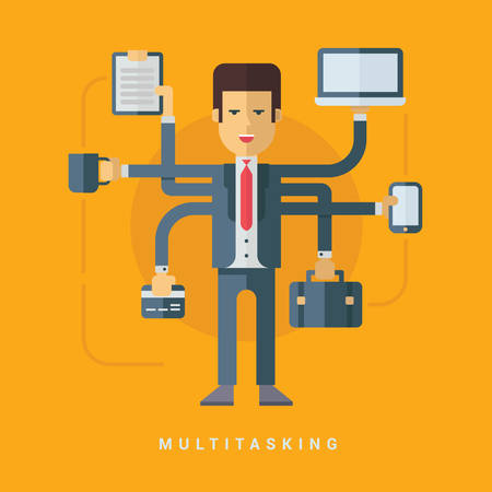 tasks: Businessman with Many Hands Doing Many Tasks. Multitasking Business Concept. Vector Flat Style Illustration