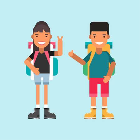 mochila: Dos turistas con mochilas pie y sonriente. Los personajes de dibujos animados de sexo masculino y femenino. Piso de dise�o de ilustraci�n vectorial