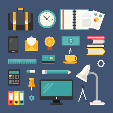 documentation: Set of Vector Icons and Illustrations in Flat Design Style. Business Objects and Symbols. Suitcase, Smartphone, Desktop, Mail, Calculator, Documentation, Coffee Illustration