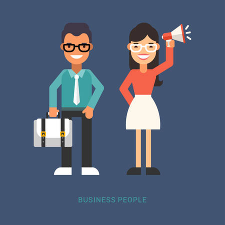 Flat Style Vector Illustration. Business People. Cartoon Characters Businessman with Suitcase and Businesswoman with Speaker Standing Together on Blue Background Illustration