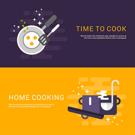 cooking time: Flat Design Concept for Web Banners. Cooking. Time to Cook. Home Cooking