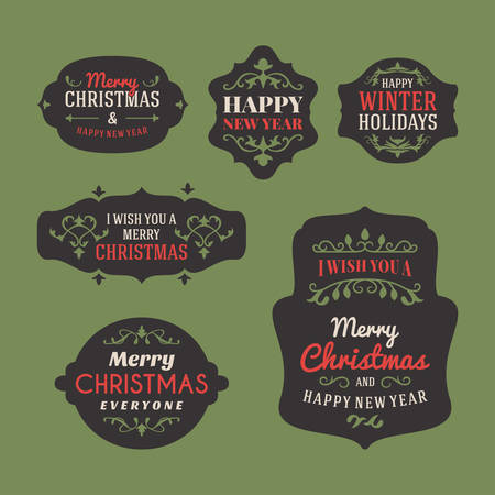 old frame: Set of Retro Vintage Christmas Holiday Labels and Greetings