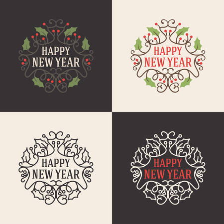 old and new: Set of Christmas Floral Decorative Greetings with Mistletoe Branch, Berries and Typographic Design Elements. Hand Drawn Vector Illustration Illustration