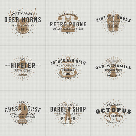 windmill: Set of Hipster Vintage Labels,  , Badges for Your Business. Horns, Retro Phone, Shoes, Anchor, Windmill, Barber, Chess. Vector Illustration Illustration