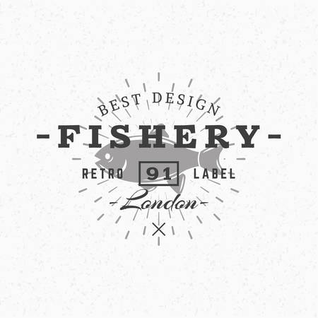 fishery: Fishery. Vintage Retro Design Elements for   Badge, Label. Business Sign Template. Textured Background
