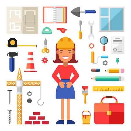 albañil: Conjunto de vectores iconos e ilustraciones en Diseño plana del estilo. Mujer Constructor personaje de dibujos animados, rodeado de Herramientas de construcción Vectores