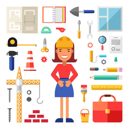 cartoon builder: Set of Vector Icons and Illustrations in Flat Design Style. Female Cartoon Character Builder Surrounded by Building Tools