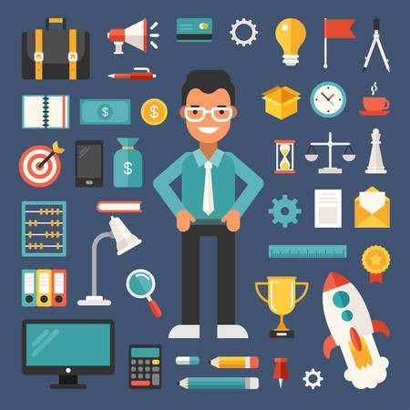 Set of Vector Icons and Illustrations in Flat Design Style. Male Cartoon Character Businessman Surrounded by Business Objects