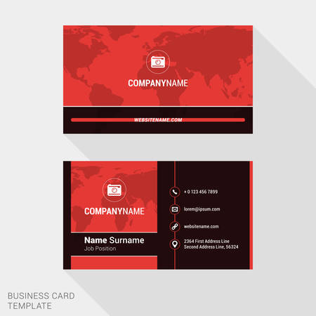 surname: Modern Creative and Clean Business Card Template in Red Color with World Map. Flat Style Vector Illustration
