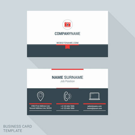 big icons: Modern Creative and Clean Business Card Template in Red Color with Big Icons. Flat Style Vector Illustration