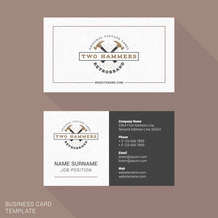 Modern Creative and Clean Business Card Template with Vintage  . Flat Style Vector Illustration