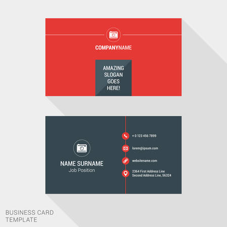 business website: Modern Creative and Clean Business Card Template in Red Color. Flat Style Vector Illustration
