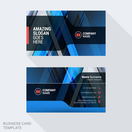 clean background: Modern Creative and Clean Business Card Template in Blue Colors with Abstract Background. Flat Style Vector Illustration Illustration