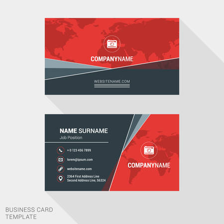 name template: Modern Creative and Clean Business Card Template in Red Color with World Map. Flat Style Vector Illustration
