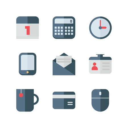 phone the clock: Set of Flat Style Vector Business Icons. Gray and Red Colors. Calendar, Calculator, Mail, Card, Phone, Clock, Cup, Mouse Illustration