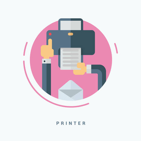 color printer: Flat Style Vector Illustration. Printer Concept. Human Hands with Printer
