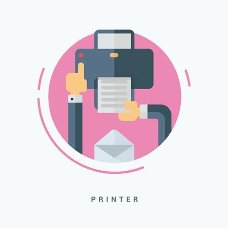 impresora: Ilustración del vector del estilo plana. Concepto de la impresora. Manos humanas con la impresora