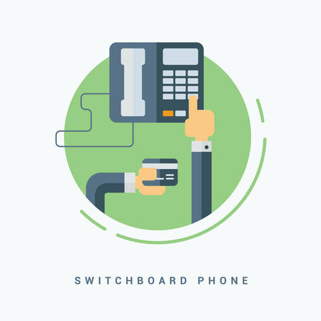 switchboard: Flat Style Vector Illustration. Switchboard Phone Concept. Human Hands Holding Business Card and Pressing Button on the Phone