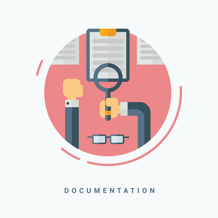 documentation: Flat Style Vector Illustration. Documentation Concept. Human Hands with Magnifying Glass