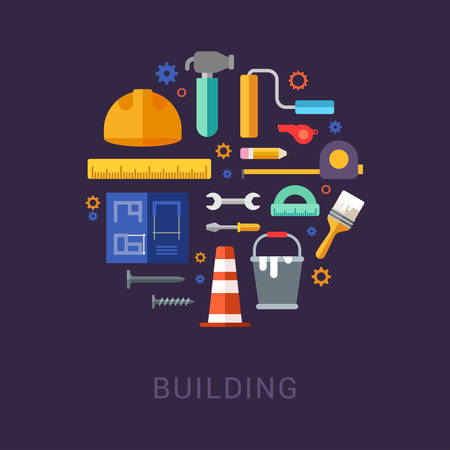 ruler: Building Tools and Objects in the Shape of Circle. Helmet, Blueprint, Paint, Ruler, Gears, Hammer. Vector Illustration in Flat Design Style for Web Banners or Promotional Materials