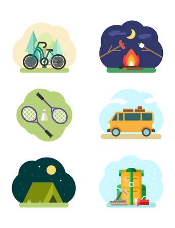 badminton: Set of Flat Design Vector Illustrations with Tourism and Recreation Objects. Bike, Bonefire, Badminton, Van, Tent, Backpack