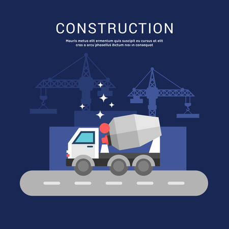 mixers: Building Concept. Cement Mixers. Vector Illustration in Flat Design Style for Web Banners or Promotional Materials