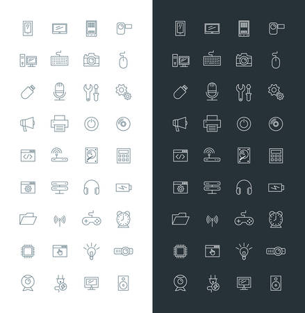 Computer and Technology Line Art Design Vector Icon Set. Mobile Phone, Printer, Computer, Keyboard, Router