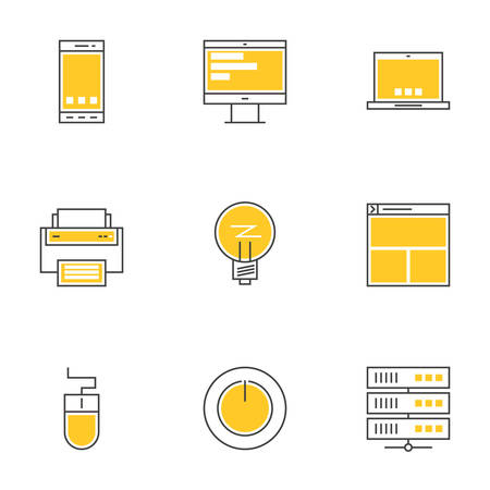thin bulb: Set of Thin Line Technology Devices Icons. Smartphone, Desktop, Printer, Server, Laptop, Mouse, Bulb, Power Button, Window. Vector Illustration