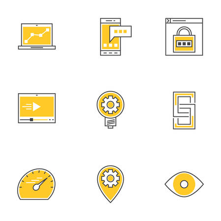 speed test: Set of Thin Line Technology Devices Icons. Analitycs, SMS, Internet Security, Video Player, Link, Speed Test, Local Optimization, Creative Idea, Vision. Vector Illustration