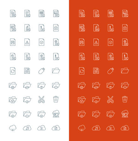 file types: Files and Folders Line Art Design Vector Icon Set. File Types, Folders, Cloud Computing, Save, Cut, Delete