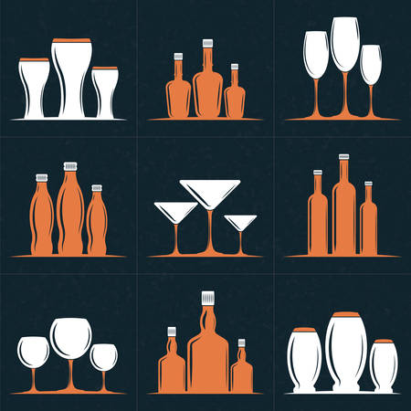 liquors: Set of Vector Retro Design Elements    . Wine Glasses and Bottles. Vector Illustration with White and Orange Elements on Dark Textured Background