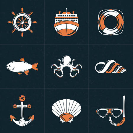 shell fish: Set of Vector Design Elements    . Vintage Styled Design Hipster Nautical Elements. Ship, Lifebuoy, Anchor, Octopus, Helm, Shell, Fish. Vector Illustration with White and Orange Elements on Dark Textured Background