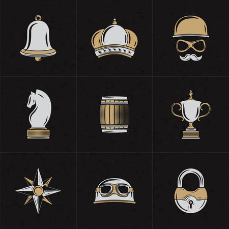 knight: Set of Vector Design Elements    . Vintage Styled Design Hipster Elements. Bell, Crown, Barrel, Lock, Chess Knight. Vector Illustration with White and Brown Elements on Dark Textured Background