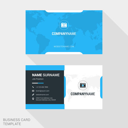 surname: Modern Creative and Clean Business Card Template in Blue Color with World Map. Flat Style Vector Illustration