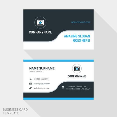 青と黒の色のモダンな創造的なビジネス カード テンプレートです。フラット スタイルのベクトル図