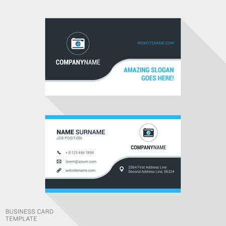 Modern Creative and Clean Business Card Template in Blue and Black Colors with . Flat Style Vector Illustration