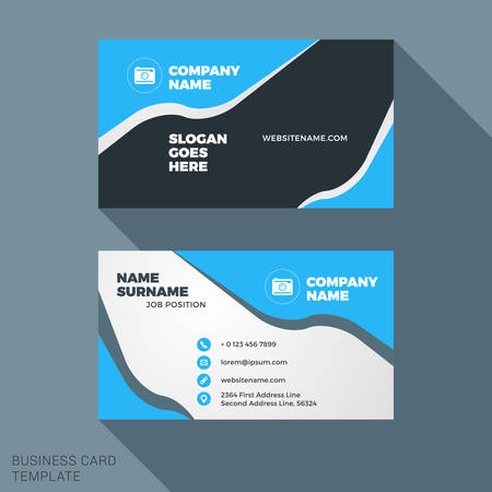 surname: Creative and Clean Business Card Template in Blue and Black Colors with Abstract Waves. Flat Style Vector Illustration Illustration