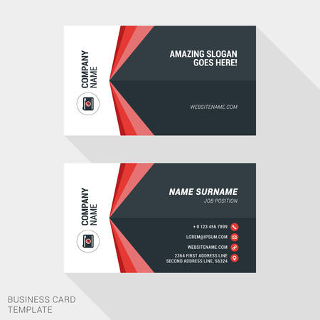 surname: Creative and Clean Business Card Template in Red and Black Colors. Flat Style Vector Illustration