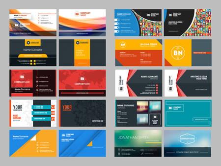 現代的な創造的なビジネス カード デザイン印刷テンプレートのセット。フラット スタイルのベクトル図
