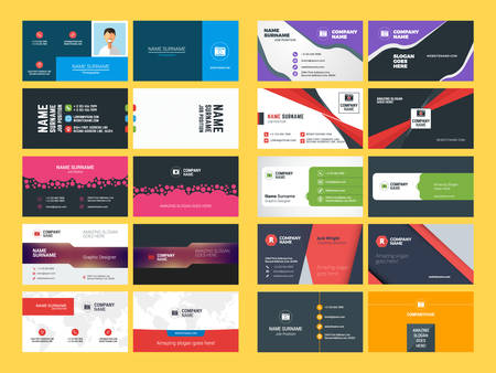 business card template: Set of Modern Creative and Clean Business Card Design Print Templates. Flat Style Vector Illustration